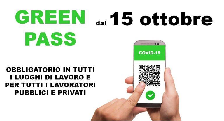 Green Pass obbligatorio dal 15 ottobre